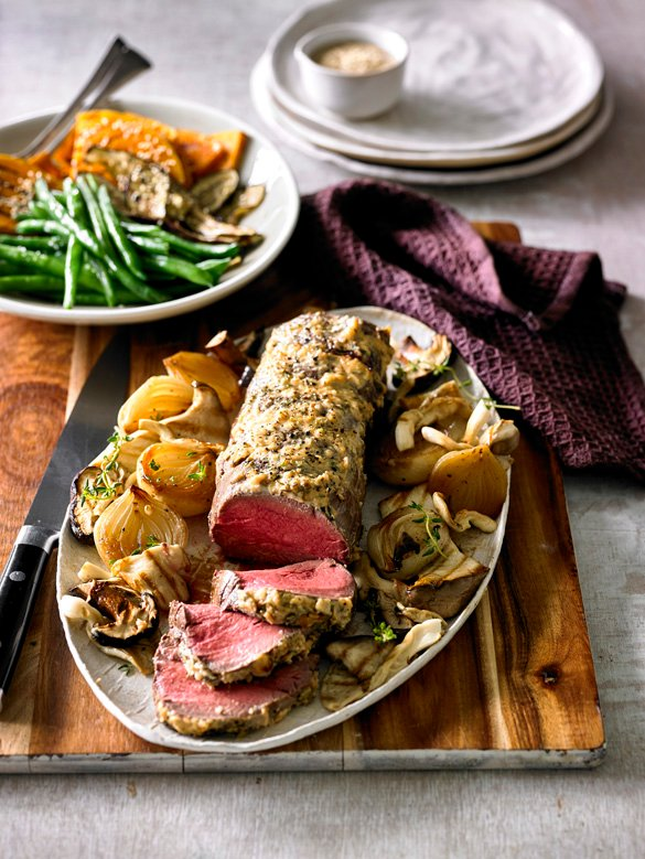 Roast beef fillet with horseradish and mushrooms