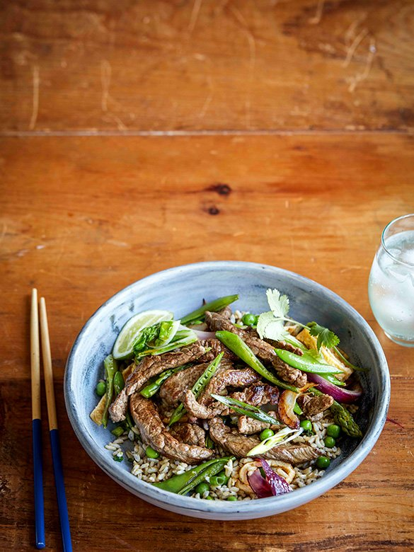 Beef and cabbage stir fry with easy fried rice