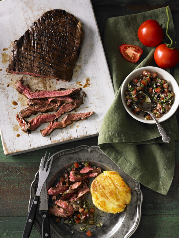 Flank steak with smashed potatoes and salsa