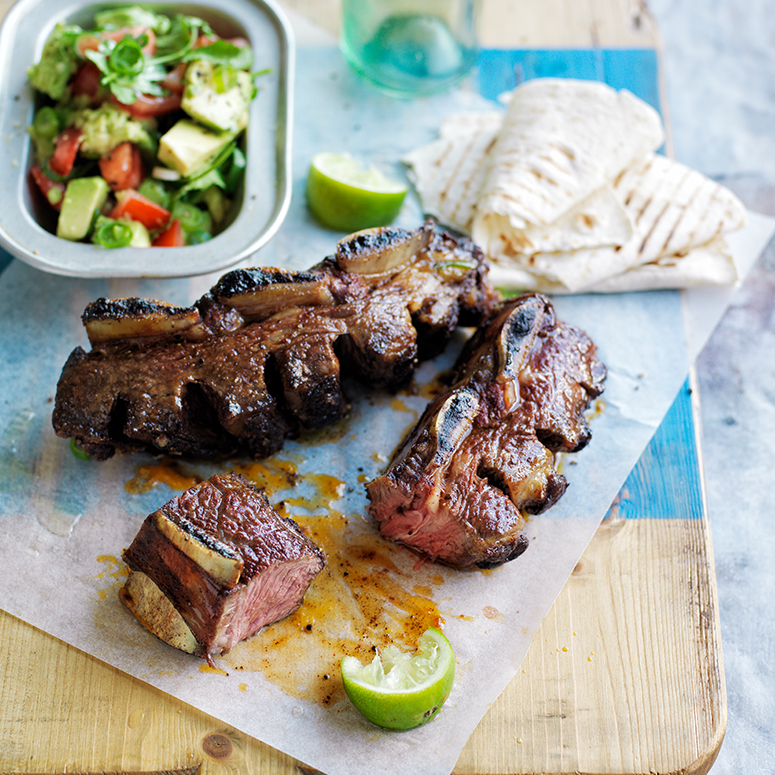 Mexican ribs with smashed guacamole