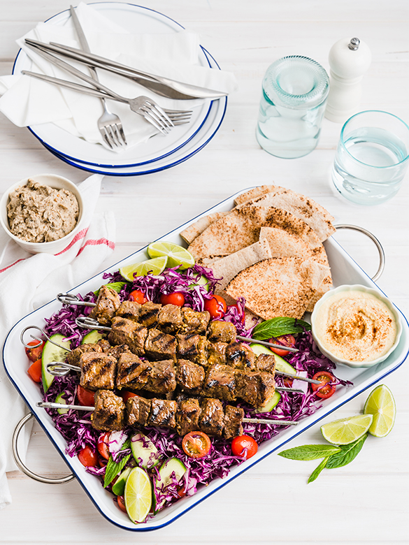 Moroccan Kebabs with Red Cabbage Slaw