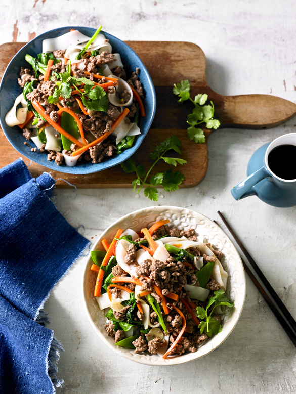 Beef and rice noodle stir-fry