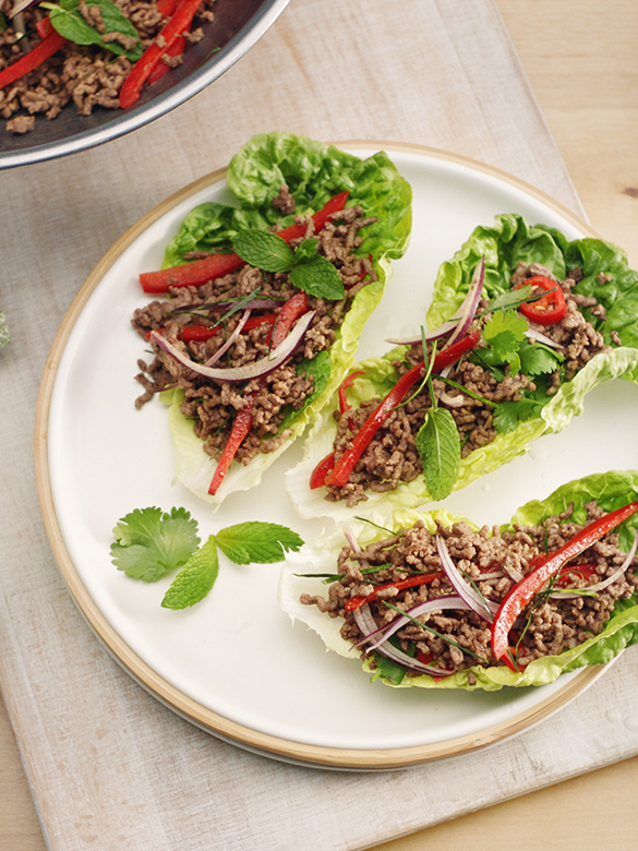 Beef mince lettuce cups
