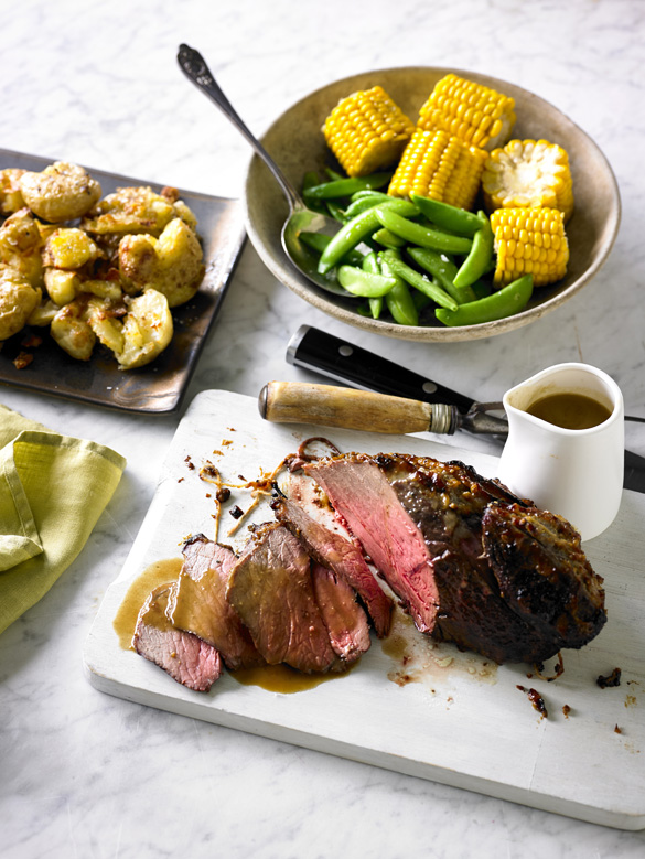 Miso rump roast with gravy and crushed potatoes