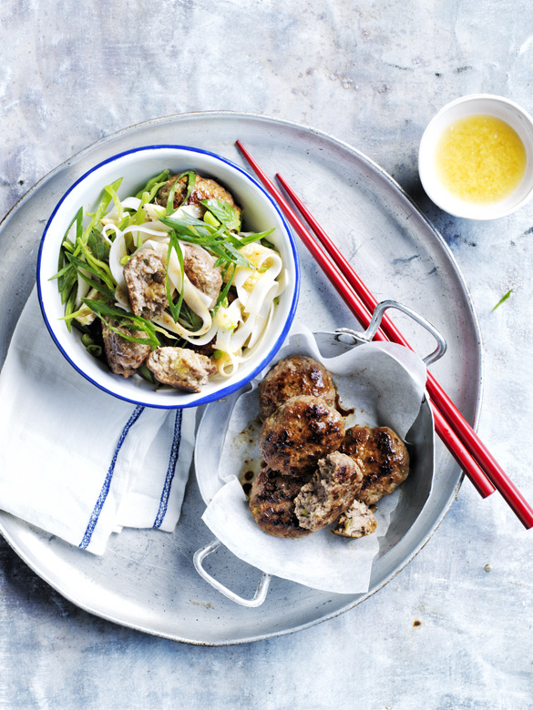Thai beef patties and rice noodle salad