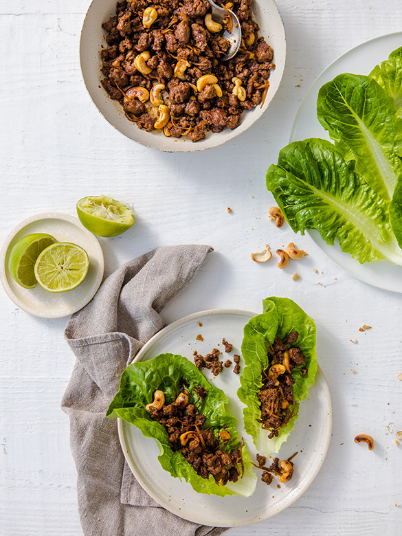 Sweet soy beef lettuce cups by Andy Allen