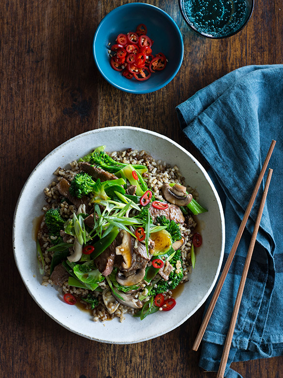 Beef, mushroom and ancient grain stir-fry