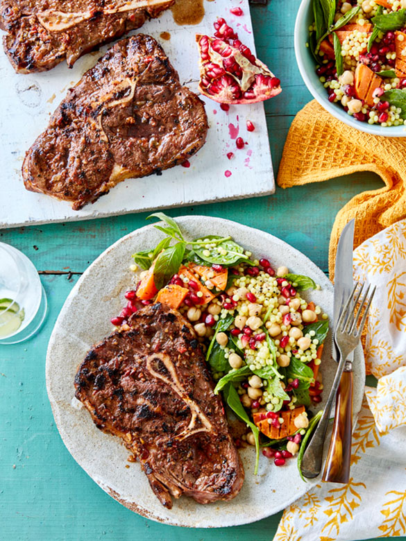 Thyme beef blade steaks with couscous salad