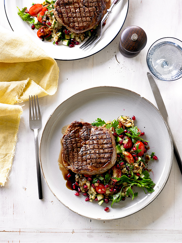 Grilled Scotch fillet with smoky eggplant salad